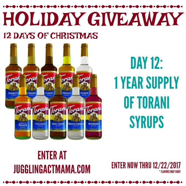 12 Days of Giveaways - Day 12: 1 Year Supply of Torani Syrups