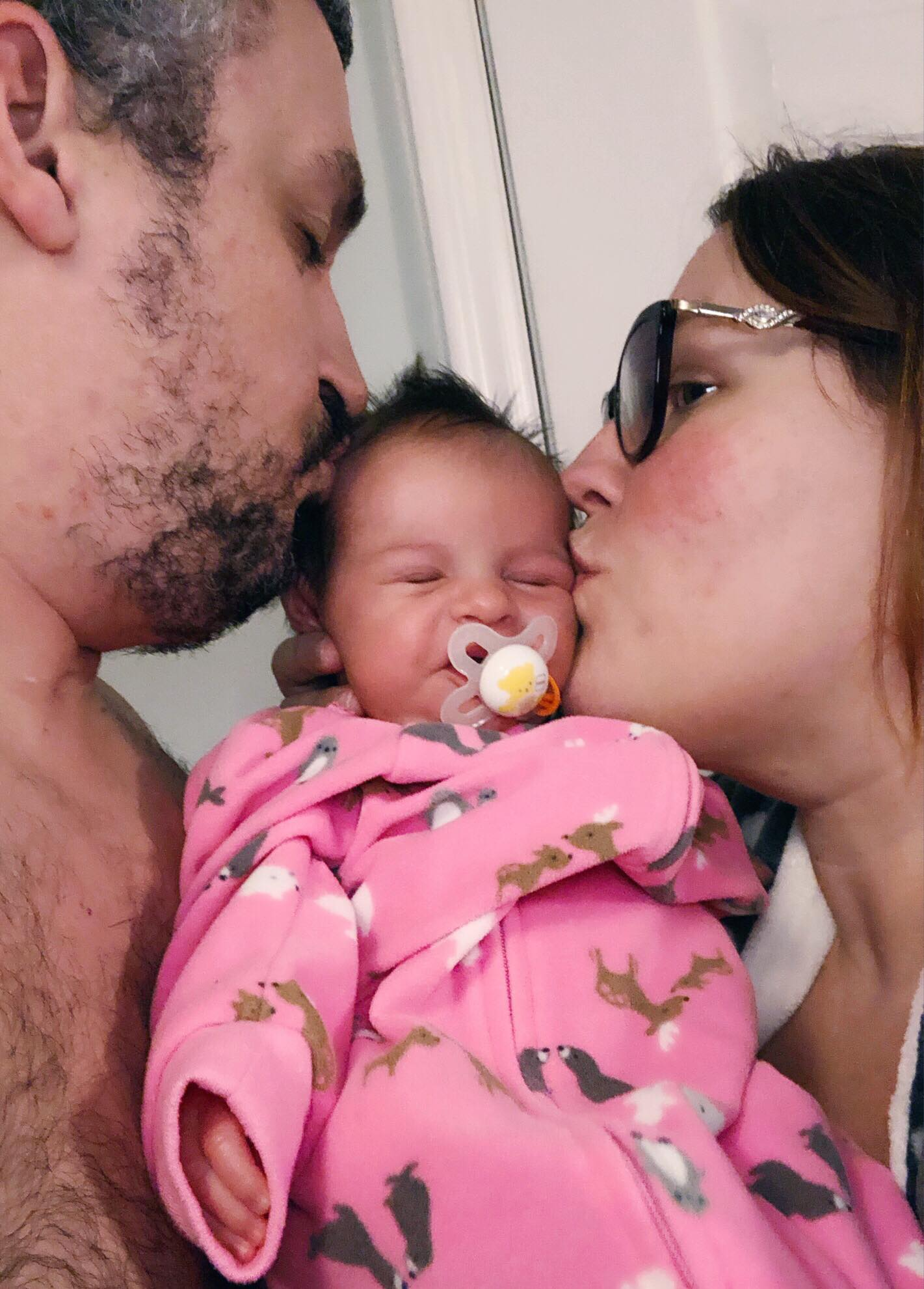 Our New Years Kiss with baby Amélie