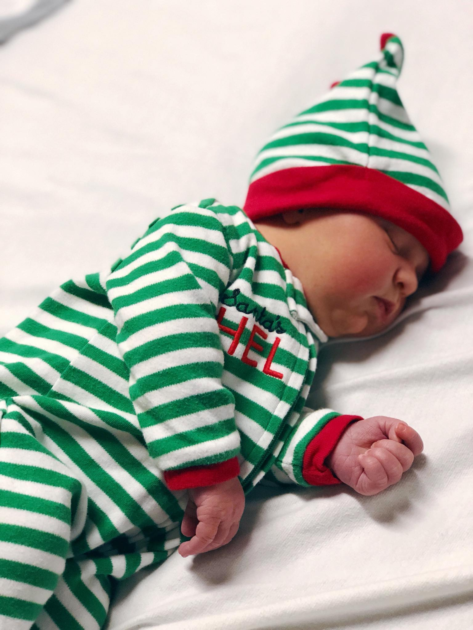 "Baby Amélie as ""Santa's Little Helper"""
