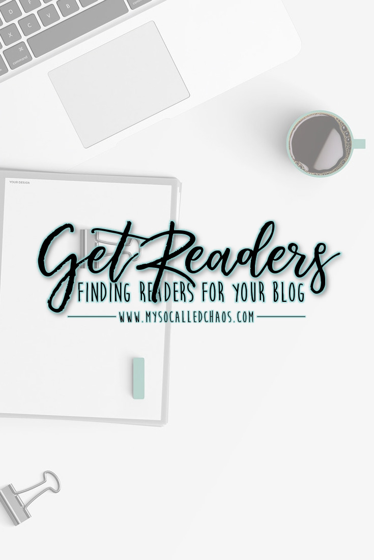 Pinnable image for the post Finding Readers For Your Blog showing a laptop and coffee cup