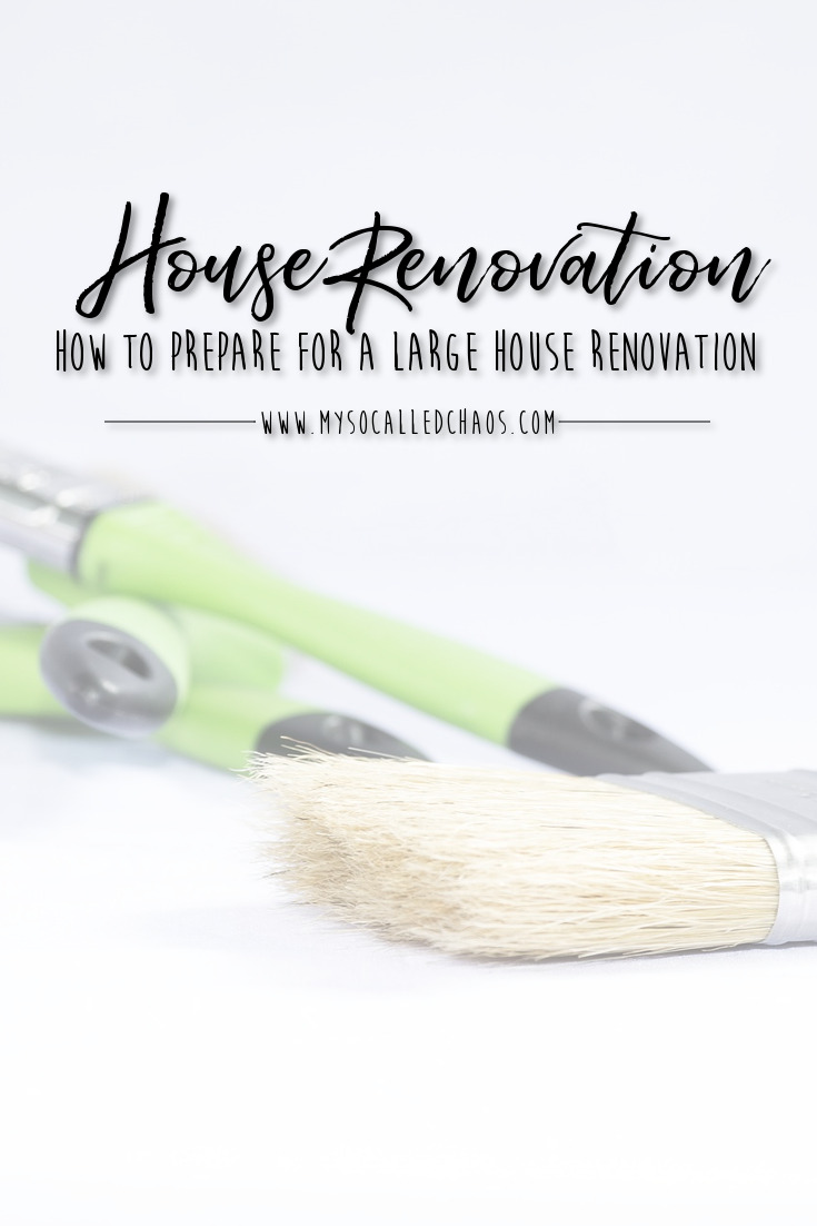 "Pinnable image for ""How to Prepare for a Large House Renovation"" showing painting supplies"
