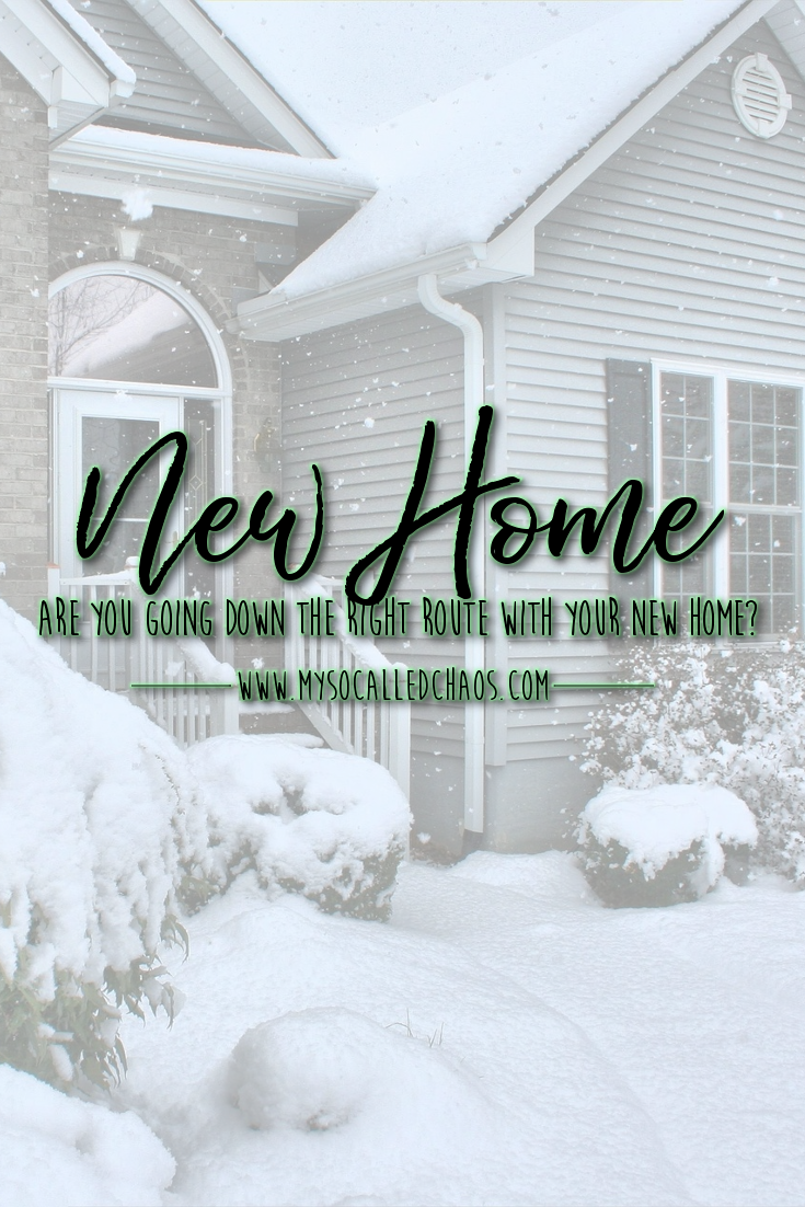 Pinnable image for the post Are You Going Down The Right Route With Your New Home? showing a home in the winter