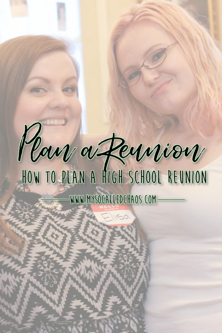 "Pinnable image for ""How to Plan a High School Reunion"" showing Elisa Asare and MelanieGrace Philips at their 10-Year High School Reunion"