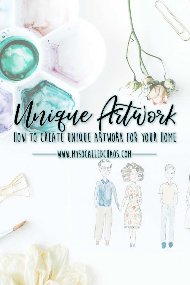 Pinnable image for How to Create Unique Artwork for Your Home showing some lovely watercolor drawings and supplies
