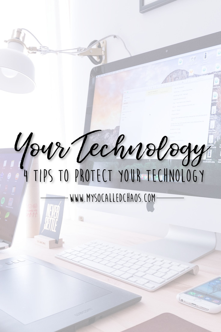 "Pinnable Image for ""4 Tips for Protecting Your Technology"" showing a computer and phone and ipad."
