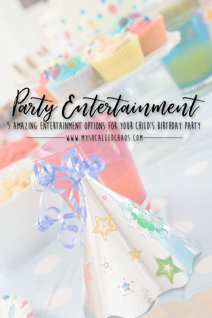 "Pinnable image for ""5 Amazing Entertainment Options for Your Child's Next Birthday Party"" showing cupcakes and party hats"