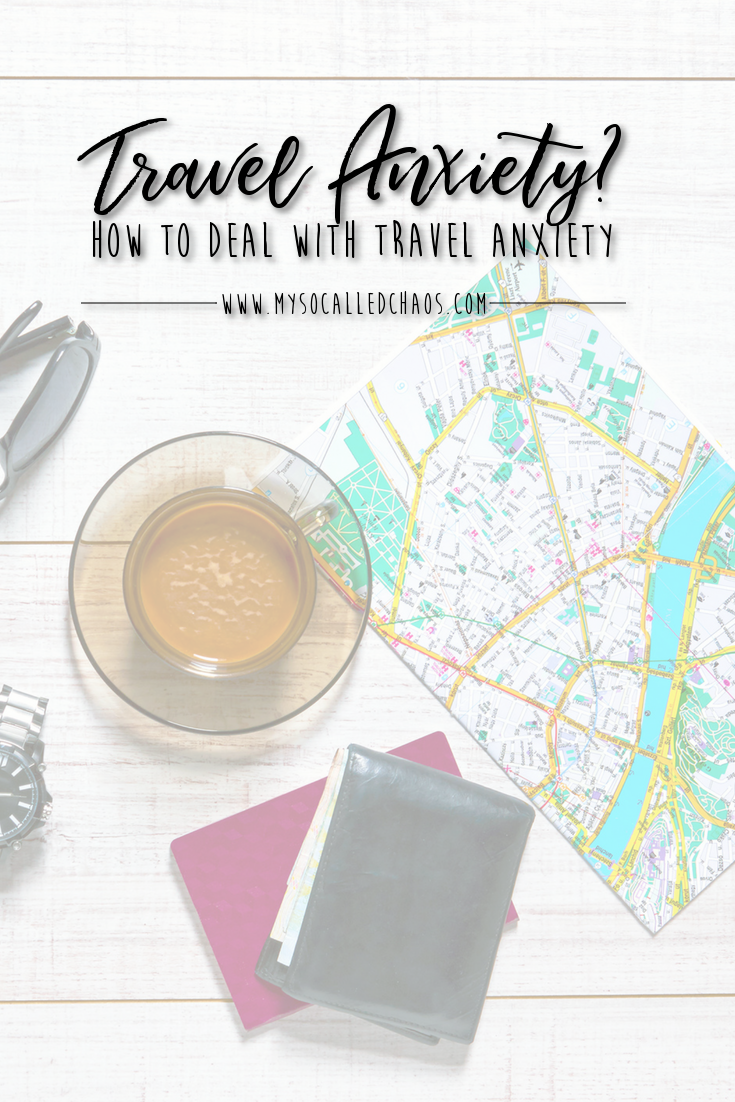 "Pinnable image for ""How to Deal with Travel Anxiety"" showing a map, wallet, passport, and cup of coffee."