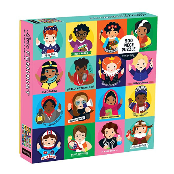 Little Feminists Puzzle depicting some adorable cartoon versions of amazing women in history-such as Cleopatra, Frida Kahlo, Queen Elizabeth I, Hillary Clinton, Malala Yousafzai, Ella Fitzgerald, Cleopatra, Marie Curie, Billie Jean King, and more!