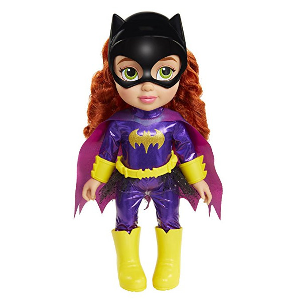 "Plastic Batgirl 15"" Doll with red hair, a batgirl mask, and a purple and yellow batgirl suit on Amazon"