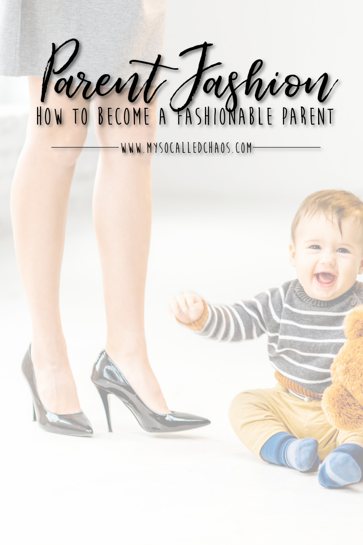 Mom in a skirt and heels while a baby plays on the floor next to her - How to Become a Fashionable Parent