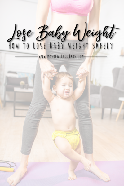 How to Lose Baby Weight Safely - Mom in sports bra and yoga pants holding a toddler by the arms on her yoga matt.