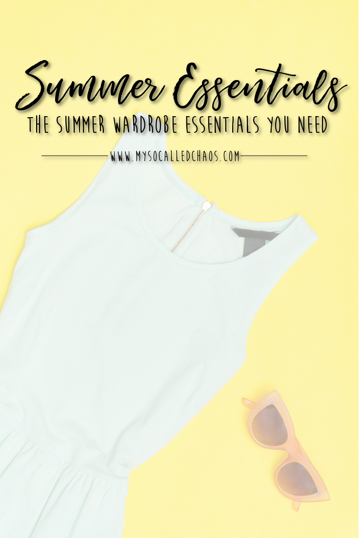 This Summers Wardrobe Essentials - Mint dress and sunglasses on a yellow background.