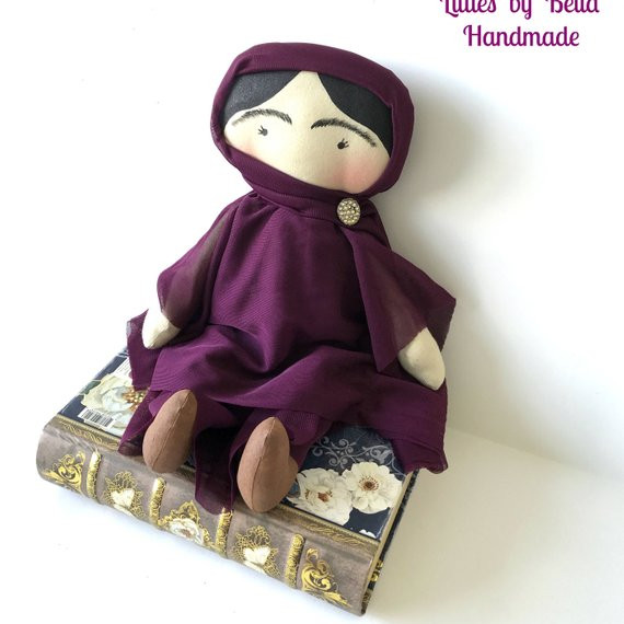 Gorgeous soft handmade Malala Yousafzai Doll from Littles by Bella on Etsy