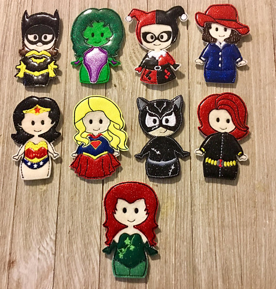 Girl super hero finger puppets from etsy