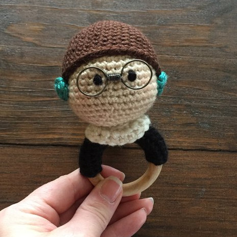 Ruth Bader Ginsberg handmade crocheted hand rattle for feminist babies on Etsy