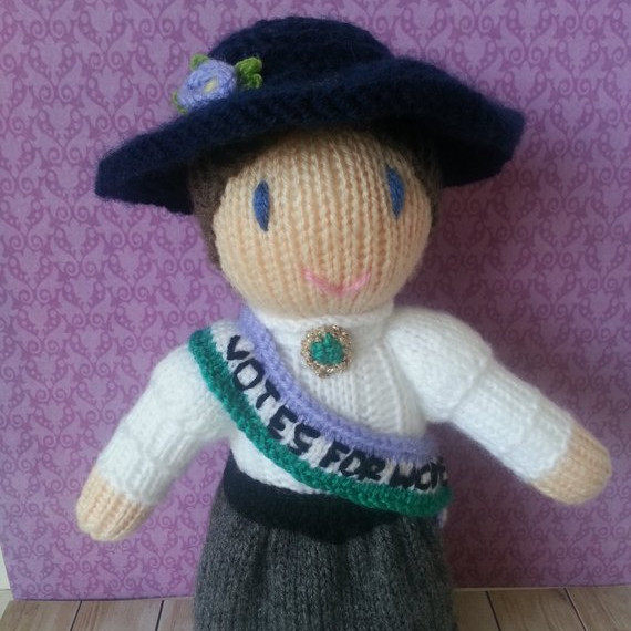 Hand Knit Sufragette Doll from Etsy