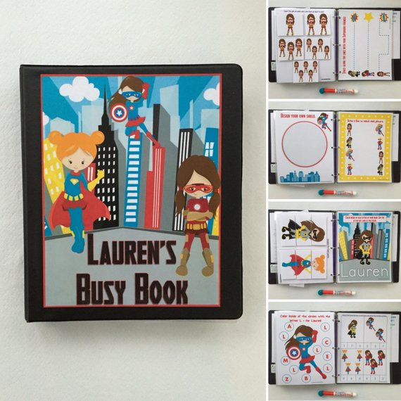Toddler's super hero girls dry erase busy book handmade on Etsy