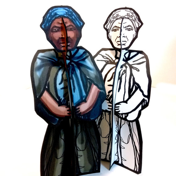 Harriet Tubman Coloring Paper Dolls from Etsy