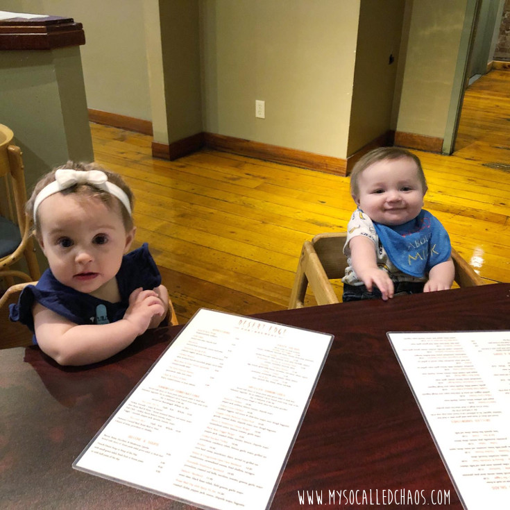 My friend Shiane and I took our babies out for a baby date at Trolley Square. Two babies sitting at a table with menus in front of them...