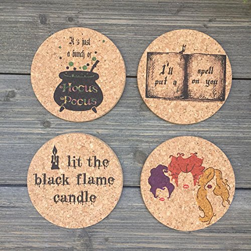 Adorable cork coasters with Hocus Pocus imagery on them.