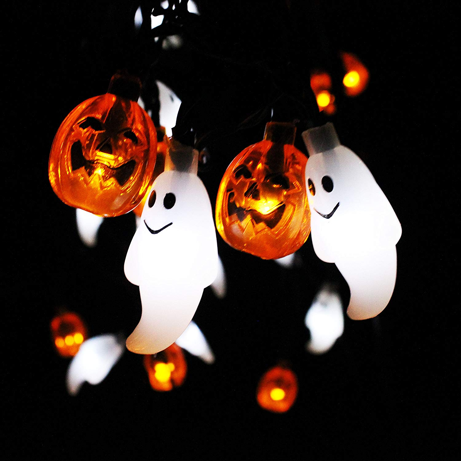 Solar Powered Ghost and Pumpkin Shaped LED String Light