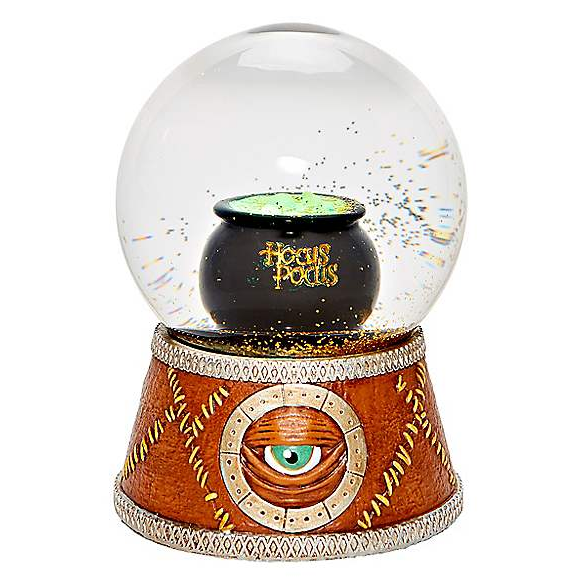 This amazing Hocus Pocus snowglobe features the Book/eye on the base and a cauldron in the middle.