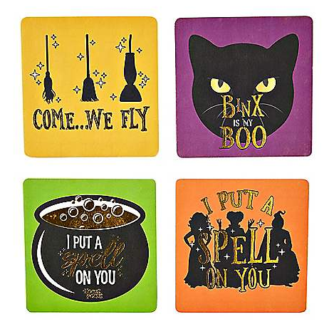 Bright colored hocus pocus coasters from Spirit Halloween.