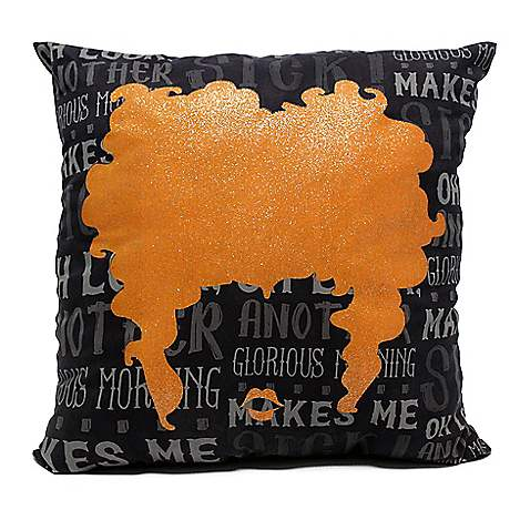 A pillow featuring the hair and lip silhouettes from Winifred Sanderson on Hocus Pocus, and also some of her quotes and sayings.