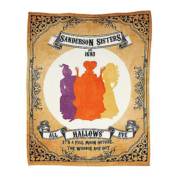A soft Fleece Blanket featuring the Sanderson Sisters from Hocus Pocus, and the words All Hallows Eve.