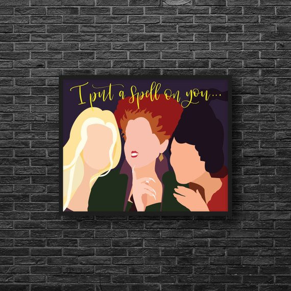 Printable art featuring the Sanderson Sisters and the words