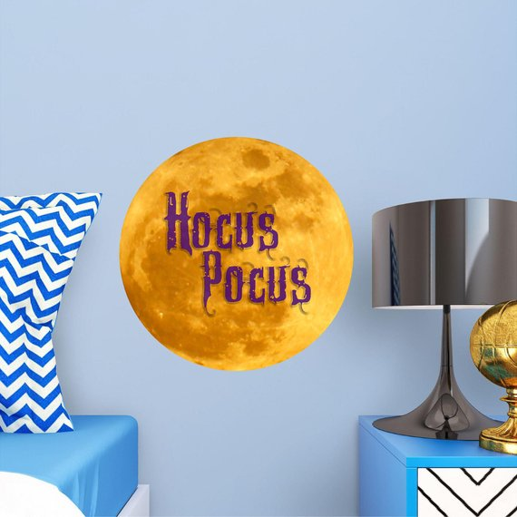 Decal of the yellow moon and logo from the movie Hocus Pocus by Decal Baby