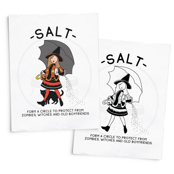 "Print featuring Dani from Hocus Pocus as the Salt girl with an umbrella and the quote saying ""Form a circle to protect from zombies, witches, and old boyfriends."" Art by Salty Paper Co"