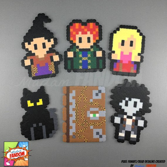 Adorable perler Magnets featuring the Sanderson Sisters, the Spell Book, Binx, and Billy Butcher from Hocus Pocus. Perler art by Madam FANDOM