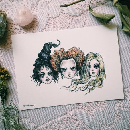 The Sanderson Sisters - 5x7 print, beautiful illustration from Brett Manning featuring the Sanderson Sisters from Hocus Pocus.