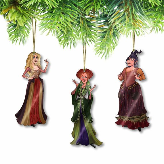Adorable handmade art ornaments featuring the Sanderson Sisters from Hocus Pocus. Ornaments by Elias Holiday Shop