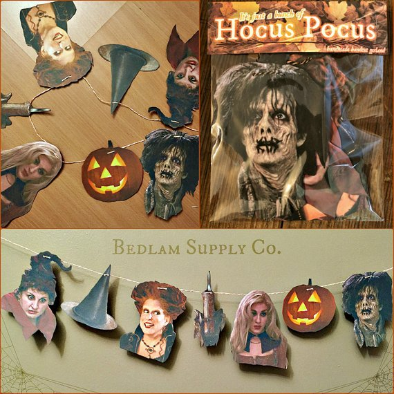 A fun handmade paper banner featuring your favorite faces and icons from the Movie Hocus Pocus.