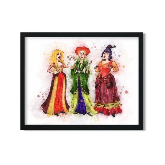 Sanderson Sisters Printable Watercolor featuring Winnifred, Mary, and Sarah Sanderson. From the shop Resny Art on Etsy.