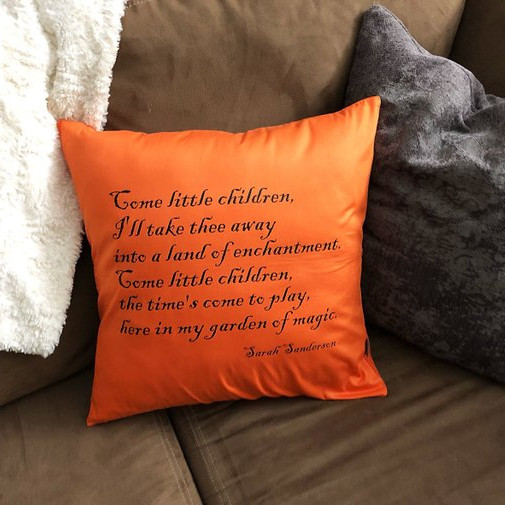 This orange throw pillow features the lyrics to the Come Little Children song that Sarah Sanderson sings in Hocus Pocus to lure the children to the Witches' Cottage. Pillow from The Twisting Branch.