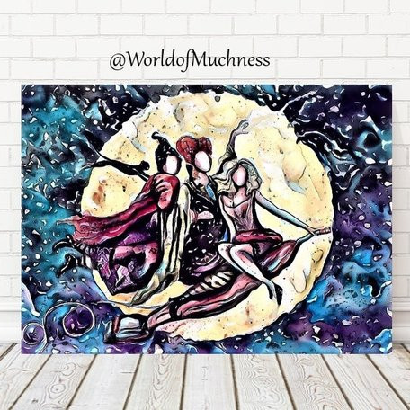 Sanderson Sisters Printable featuring an artistic rendering of the Sanderson Sisters on a broom in front of the moon. From the shop World of Muchness