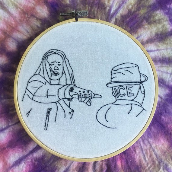 Embroidery Art featuring a fun scene in Hocus Pocus where Jay and Ice introduce themselves. Art from Stitches by Dander