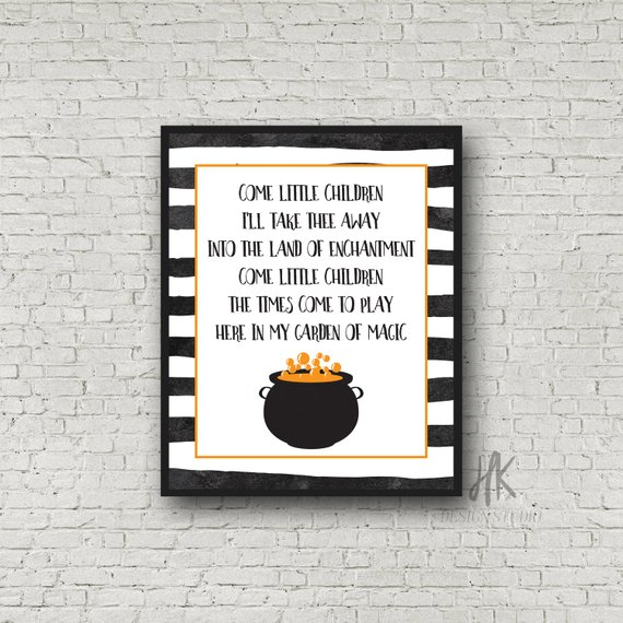 Printable featuring a cauldron, black gold and white border, and the lyrics to the Come LIttle Chidlren song that Sara Sanderson sings in Hocus Pocus. Art by HK Design Studio