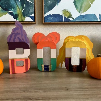 These letters each look like a Sanderson sister and spell out the word BOO. From Anchored by Akita on Etsy.
