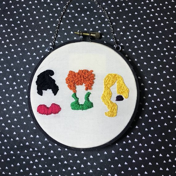 A fun kit that features what you need to make this cute Hocus Pocus inspired Emboridery Hoop art featuring the hair and collars of the Sanderson Sisters. Kit by Floss and Fetl