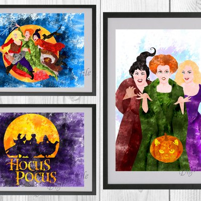 Set of three Hocus Pocus inspired art printables featuring memorable scenes from the movie. From the shop Fantasy Bright.
