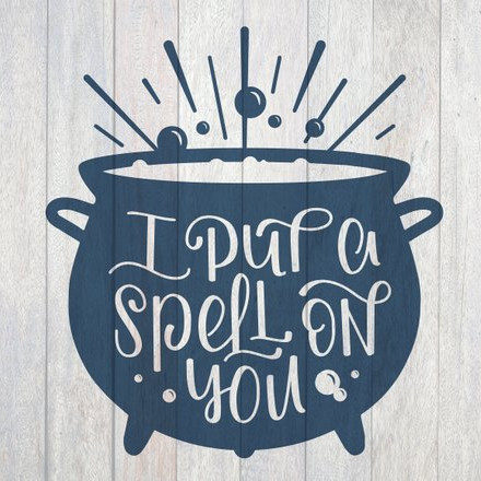 "A printable file for a Vinyl Decal that shows a cauldron and the words ""I put a spell on you"" from Hocus Pocus. From Lighthouse Paper Co NC on Etsy"