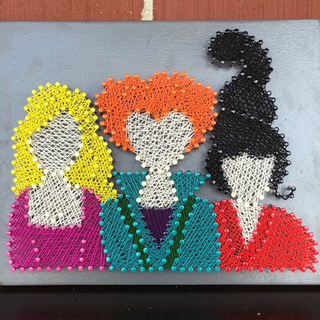 String art featuring the Sanderson Sisters from Hocus Pocus, handmade by Margar's Market on Etsy