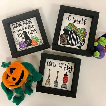 Three Mini Prints featuring Hocus Pocus imagery. Art by Devine Colors.