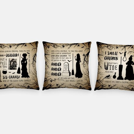 This throw pillow set features each feature a Sanderson Sister and some imagery and quotes related to that Hocus Pocus Character. Pillows from Danielle Lynne Creations
