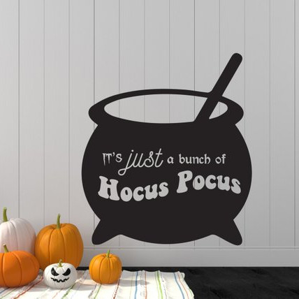 Vinyl Wall Decal featuring a Cauldron that says It's Just a Bunch of Hocus Pocus by Sticky Thingz on Etsy