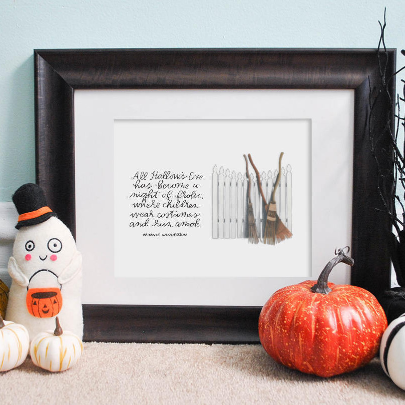 "Hocus Pocus inspired print that shows brooms leaning against a fence and the quote ""All Hallows Eve has become a night of frolic where children wear costumes and run amok."" as quoted by Winnie Sanderson on Hocus Pocus. From the shop Three Letter Birds on Etsy"